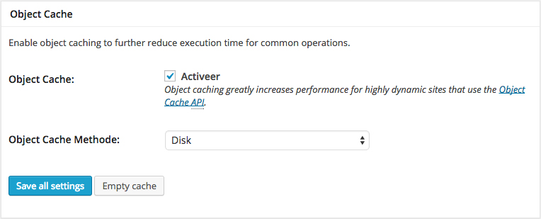 W3 Total Cache general settings object cache